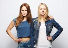 Twee jonge meisjesvrienden die zich en pret verenigen hebben Royalty-vrije Stock Foto's