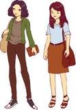 Twee Jonge Meisjeswildzang en Vrouwelijke Vectorillustratie Stock Afbeeldingen