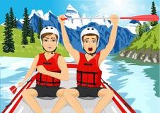 Twee jonge mensen in een vlotboot kruising zijn met klaar het opheffen van zijn peddel vector illustratie