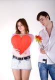 Twee jonge mensen in liefde Stock Foto