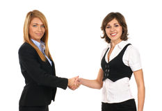 Twee jonge onderneemsters schudden hun handen Royalty-vrije Stock Foto