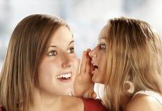 Twee jonge roddelende vrouwen Stock Foto