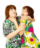 Twee jonge speelmeisjes Stock Foto's