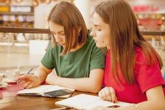 Twee jonge vrouwelijke studenten die samen bestuderen Gelukkige beste vrienden stock fotografie