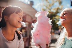 Twee jonge vrouwen die katoen delen candyfloss stock afbeeldingen