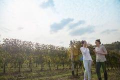Twee jonge vrouwen die wijn drinken Stock Foto
