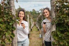 Twee jonge vrouwen die wijn drinken Royalty-vrije Stock Afbeeldingen