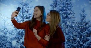 Twee Jonge Vrouwen die Zelfportret nemen stock footage