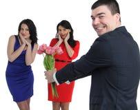 Twee jonge vrouwen en één homosexueel Stock Afbeelding
