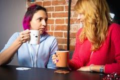 Twee jonge vrouwen met kop theeën en koffie het spreken stock fotografie
