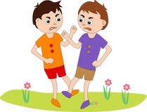 Twee jongens bestrijden elkaar stock fotografie