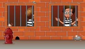 Twee jongens binnen de gevangenis royalty-vrije illustratie