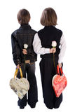 Twee Jongens die bloemen houden Stock Afbeeldingen