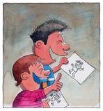 Twee jongens die tekeningen bekijken Royalty-vrije Stock Foto's