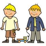 Twee jongens en stuk speelgoed, auto en katapult, vectorillustratie Royalty-vrije Stock Foto's