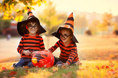 Twee jongens in het park met Halloween-kostuums Stock Foto's