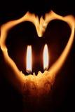 Twee kaarsen en harten Stock Foto's