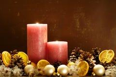 Twee Kaarsen van Kerstmis Stock Fotografie