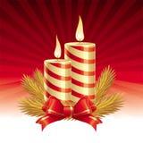 Twee kaarsen van Kerstmis Stock Foto's