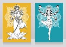 Twee kaarten met Indische godin Lakshmi en Kali en mandala om ornament stock illustratie