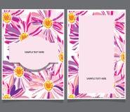 Twee kaarten met roze bloemen Stock Afbeeldingen
