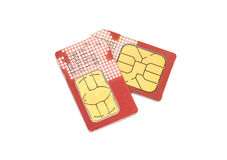 Twee kaarten SIM Stock Afbeeldingen