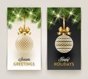 Twee kaarten van de Kerstmisgroet vector illustratie