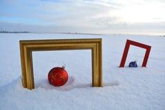 Twee kader en Kerstmissnuisterijen op sneeuw op gebied Stock Foto