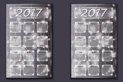 Twee kalenders met abstracte bokehachtergrond in het jaar van 2017 Royalty-vrije Stock Afbeelding