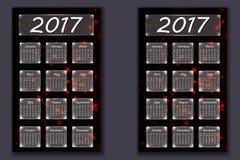 Twee kalenders met abstracte bokehachtergrond in het jaar van 2017 Stock Foto's