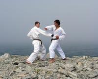 Twee karatekastrijd Royalty-vrije Stock Foto