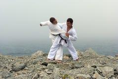 Twee karatekastrijd Stock Afbeelding