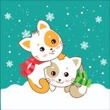 Twee katjes Katten in de sneeuw Royalty-vrije Stock Fotografie