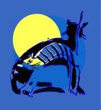 Twee katten in het maanlicht Royalty-vrije Stock Fotografie