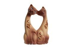 Twee katten, keramiek Stock Foto