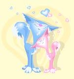 Twee katten in liefde Stock Foto