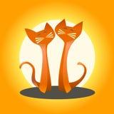 Twee katten in liefde op een oranje achtergrond Stock Afbeeldingen