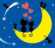 Twee katten op de maan en katjes Royalty-vrije Stock Afbeeldingen