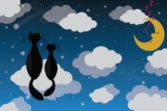 Twee katten op maanlicht Stock Foto's