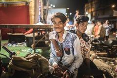 Twee kerelportret in een Hindoes festival in Jaipur, India Royalty-vrije Stock Afbeeldingen