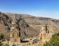 """Twee kerken Surb Nshan van het Middeleeuwse klooster Horomayr †""""is gevestigd Zuidoosten van Odzun-dorp, Lori-gebied, stock afbeelding"""