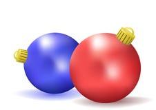 Twee Kerstmisballen Royalty-vrije Stock Afbeelding