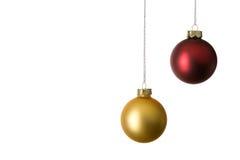 Twee Kerstmisballen stock afbeeldingen