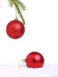 Twee Kerstmisballen Stock Foto