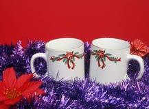 Twee Kerstmiskoppen Stock Afbeelding