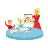 Twee Kinderen in Art Class Drawing Cartoon Illustration met Basisschooljonge geitjes en Hun Leraar In Creativity Royalty-vrije Stock Fotografie