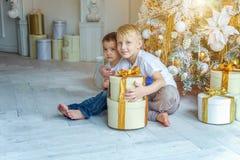 Twee kinderen dichtbij Kerstboom thuis royalty-vrije stock afbeeldingen