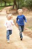 Twee Kinderen die in park lopen royalty-vrije stock fotografie