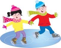 Twee kinderen het schaatsen stock illustratie