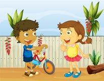Twee kinderen het spreken stock illustratie